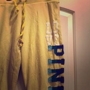 Victoria's Secret LOVE PINK yellow capri sweats
